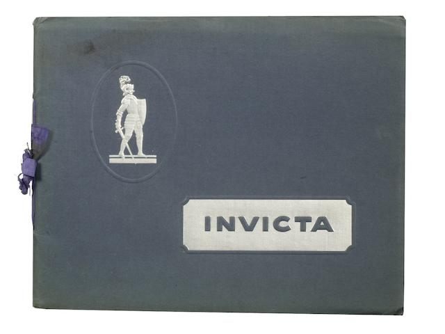 An Invicta 6-Cylinder 3-Litre sales brochure, October 1927,