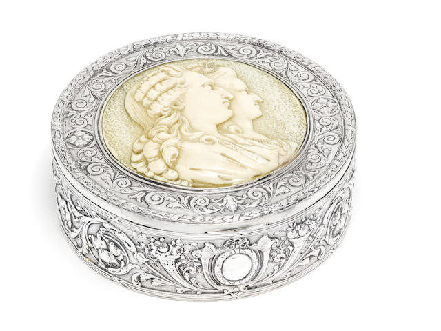 A late 19th Century French silver box inset with ivory panel,