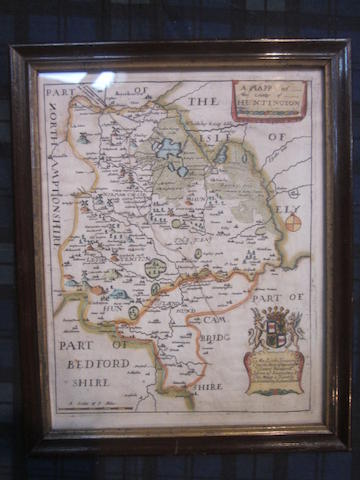A map of Huntingdon,Richard Blome, circa 1673, hand coloured, 26 x 20cm; together with two other maps of Huntingdonshire and two others (5)