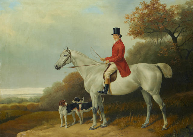 E J Keeling (British, active 1856-1873) Horseman with his hounds in a landscape