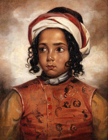 English School, 19th century Portrait of a young boy, half-length, wearing a turban and embroidered tunic