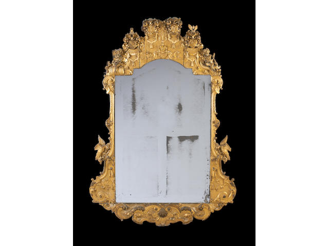 A large German mid 18th century giltwood and gilt gesso pier mirror