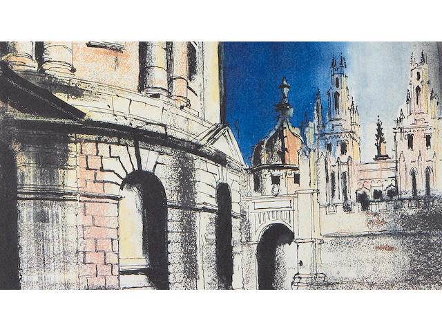 John Piper CH (British, 1903-1992) Radcliffe Camera Offset lithograph printed in colours, 1981, on Arches, signed and numbered 45/150 in pencil, printed by Senecio Press, Banbury, published by Oxford Museum of Modern Art, Oxford, with margins, 530 x 355mm (20 3/4 x 14in)(I)