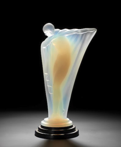 An Art Deco 'Draped Nude' glass mascot, by Lucile Sevin for Etling, French, introduced 1932,