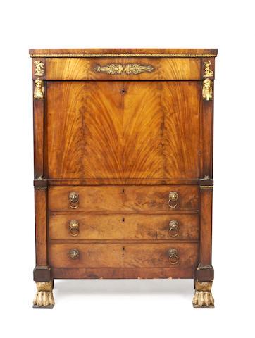 A Regency gilt bronze mounted mahogany secrétaire à abbatant