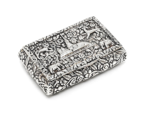 A 19th century Indian silver snuff box apparently unmarked, Trichinopoly, circa 1870
