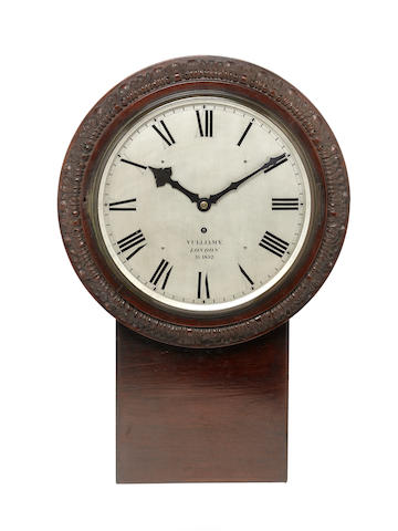 A substantial signed and dated mid 19th century carved mahogany wall timepiece Vulliamy, London, AD 1852, Numbered 1916,