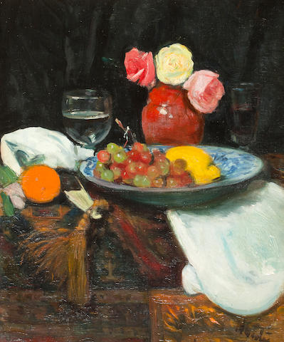 George Leslie Hunter (British, 1877-1931) Still life with Roses, Fruit and Wine Glass 56 x 45.7 cm. (22 1/16 x 18 in.)