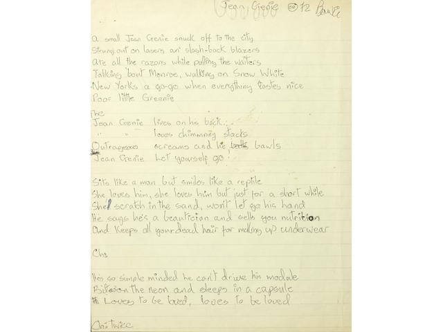 David Bowie lyrics for 'The Jean Genie'