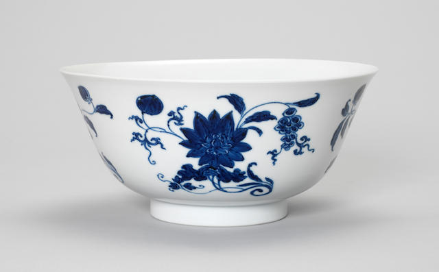 A blue and white bowl  Jiajing six-character mark, Kangxi