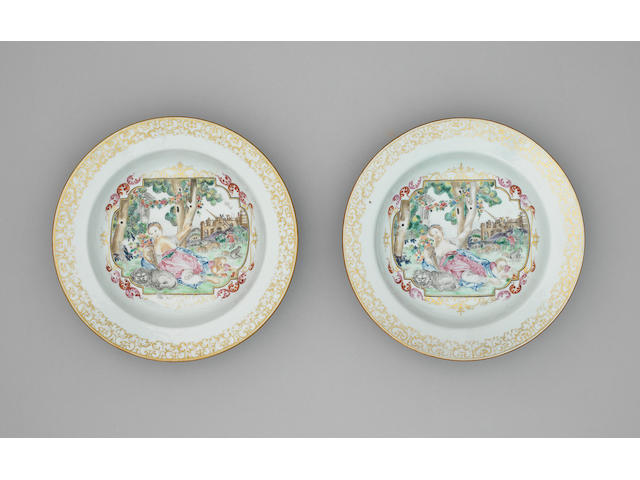 A pair of famille rose export 'European subject' soup plates Qianlong, circa 1760