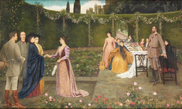 Edward Clifford (British, 1844-1907) A lunch party at Ashridge House