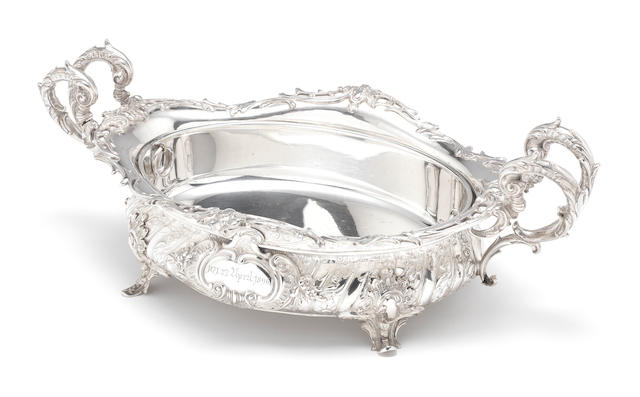 A late 19th century German silver two-handle jardinierre impressed MAYER SOHNE, incuse 800