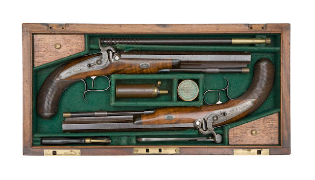 A Fine Cased Pair Of 40-Bore Percussion Duelling Or Target Pistols