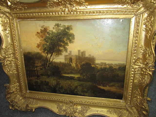 English School, 19th century, circa 1840 Castle; and Ruined Abbey, in gilt frames