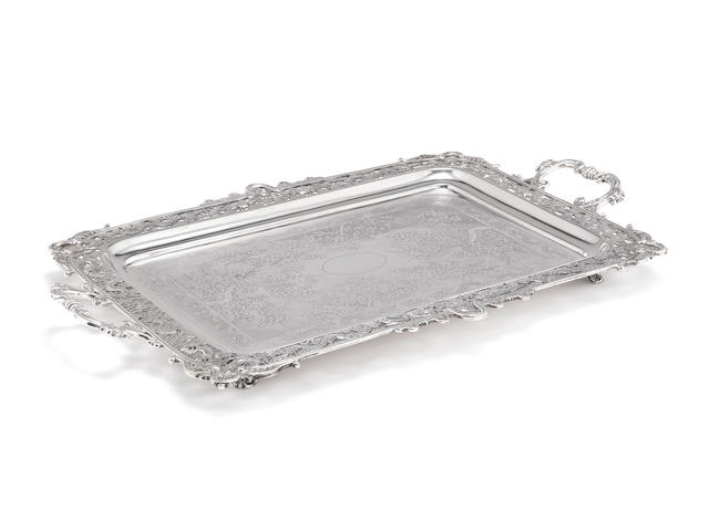A late-19th / early-20th century Chinese export two-handled silver tray by Luen-Wo, stamped with character marks only, Canton/Shanghai, circa 1900