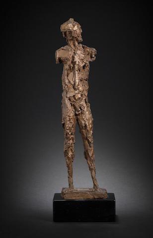 Dame Elisabeth Frink R.A. (British, 1930-1993) Warrior 40.4 cm. (15 7/8 in.) high (excluding the wooden base)
