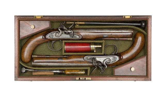 A Cased Pair Of Flintlock Pistols Of Carbine Bore