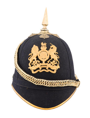 A Fine 1878 Pattern Blue Cloth Helmet Of An Officer In The Territorial Engineers