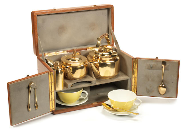 A fine and rare cased tea-set for two persons, by Maquet, French, circa 1905,