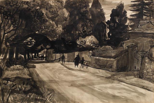 John Minton (British, 1917-1957) Hampstead 29.2 x 37.7 cm. (11 1/2 x 14 7/8 in.)