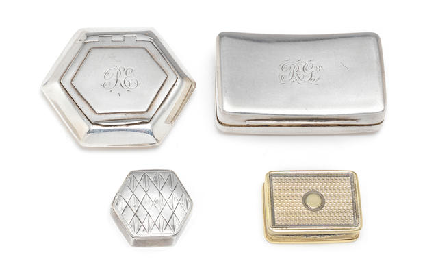 A George III silver patch box by John Thornton, Birmingham 1801; together with two vinaigrettes and five snuff boxes  (8)