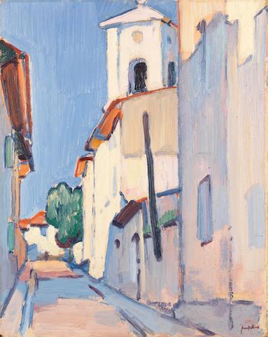 Samuel John Peploe, RSA (British, 1871-1935) Street in Cassis 40.6 x 33 cm. (16 x 13 in.)