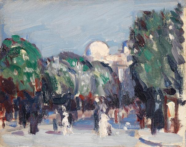 John Duncan Fergusson RBA (British, 1874-1961) Avenue de L'Observatoire 18.9 x 23.7 cm. (7 3/8 x 9 1/4 in.)