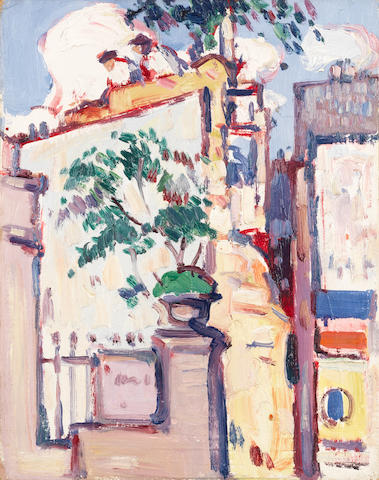 John Duncan Fergusson RBA (British, 1874-1961) Boulevard Edgar Quinet, Paris  35 x 27.4 cm. (13 3/4 x 10 3/4 in.)