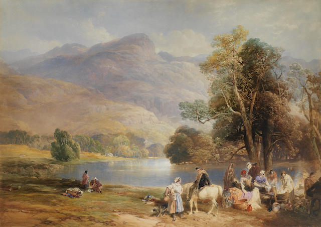 Thomas Miles Richardson, R.W.S. (British, 1813-1890) On the Banks of the Lochy, Killin, Perthshire 72 x 101 cm. (28 1/4 x 39 3/4 in.)