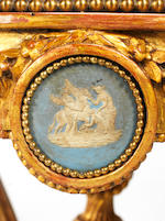 An Italian late 18th/early 19th century giltwood, Brocatelle marble and 'Jasperware' mounted guéridon