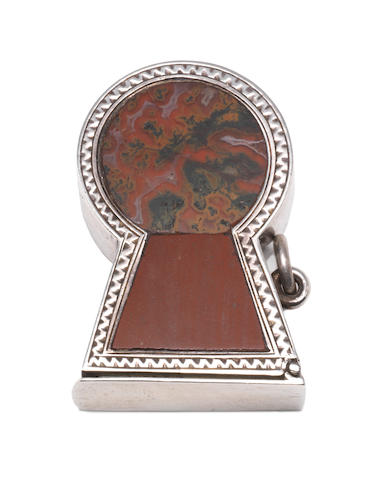 A silver and hardstone 'thistle' vesta case, by James Fenton, Birmingham 1922, together with five other Victorian examples (6)