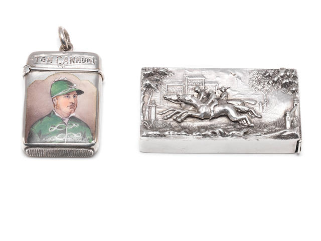 Of Horse Racing Interest: A late Victorian silver and enamelled vesta case   by Joseph Hayes Taylor, Birmingham 1881  (2)