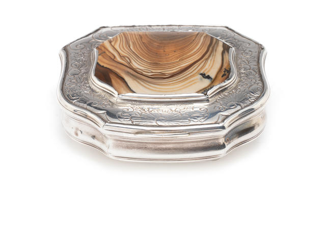 A George II silver and hardstone snuff box   probably by Benjamin Cartwright, London, 1750   (2)