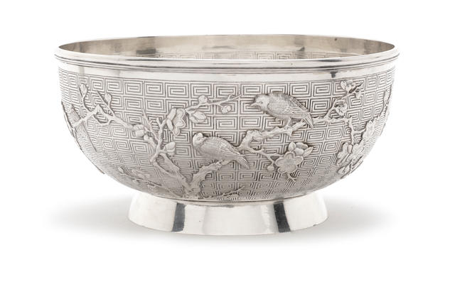 A late-19th / early-20th century Chinese export silver bowl by Wang Hing, stamped '90' with character marks
