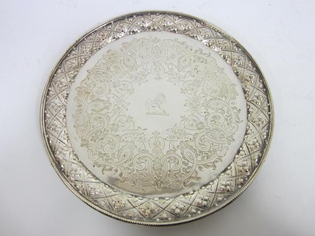 A Victorian silver salver Sheffield 1864