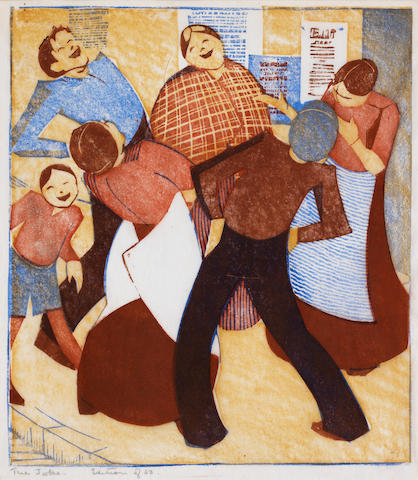 Ethel Spowers (Australian, 1890-1947) The Joke (Coppel ES 18) The rare linocut printed in yellow ochre, red, brown and cobalt blue, 1932, on buff oriental laid tissue, titled and inscribed 'edition of 50' in pencil by the artist, with margins, 198 x 174mm (7 3/4 x 6 7/8in)(B)