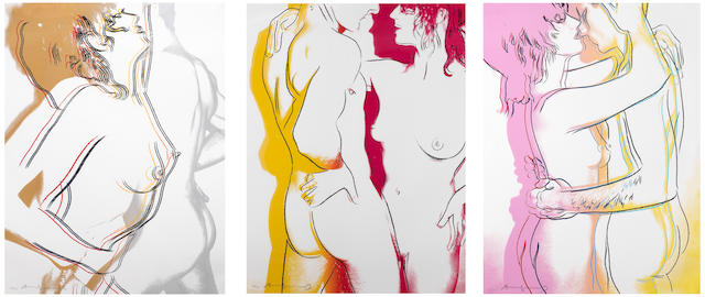 Andy Warhol (American, 1928-1987) Love Triptych The complete set of three screenprints in colours, 1983, each on BFK Rives, each signed and numbered 87/100 in pencil, printed by Rupert Jasen Smith, New York and Ryoichi Ishida, Tokyo, Japan, published by Form. K. K., Tokyo, with the artist's copyright stamp on the reverse, the full sheet, each 660 x 499mm (26 x 19 5/8in)(SH)(3)