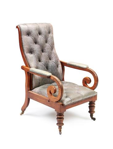 A George IV mahogany library armchair