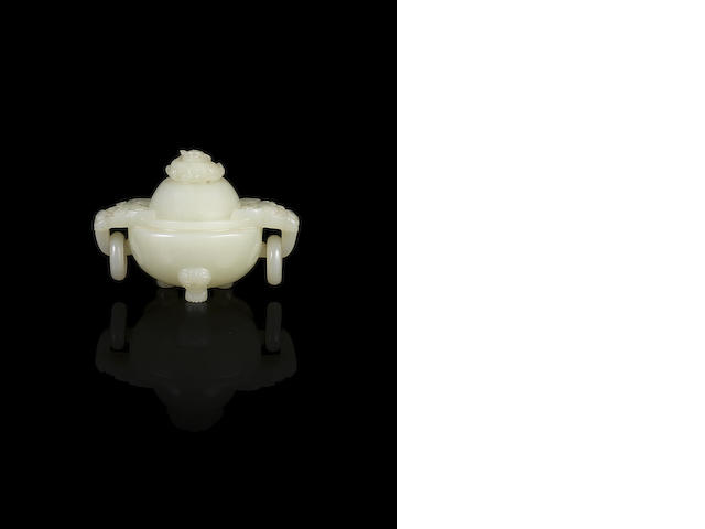 A rare small white jade tripod incense burner and cover Qianlong