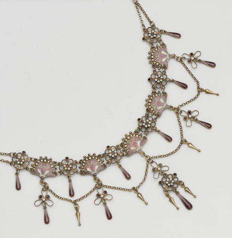 Marius Hammer: A purple and white enamel necklace