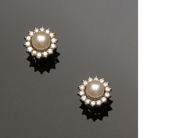 A pair of cultured pearl and diamond cluster earstuds