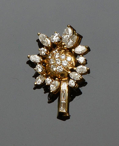 A diamond flower brooch