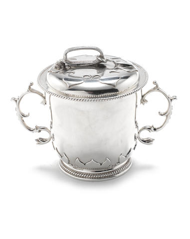 A Britannia standard silver twin-handled leaf moulded porringer and cover Herbert & Lawrence Parsons for Tessiers,  London 1960