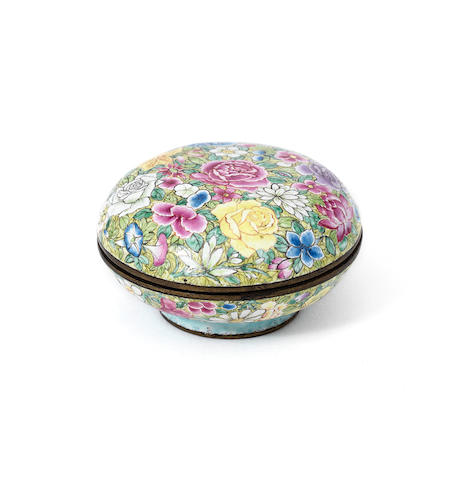 A rare painted enamel 'millefleurs' seal-paste box and cover Qianlong four-character mark and of the period