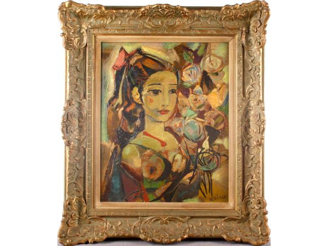 Ludwig Klimek (Polish, 1912-1992) 'Madrilene au bouquet de fleurs'
