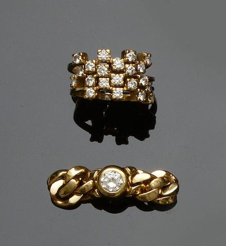 A diamond single stone ring and three diamond half hoop rings (4)