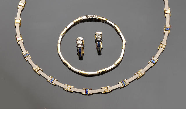 A sapphire and diamond necklace, bracelet and earrings (3)