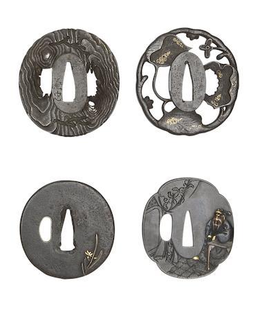 Three Iron Tsuba, And A Shakudo Tsuba