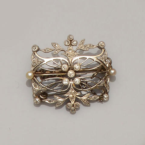 An early 20th century diamond and seed pearl brooch